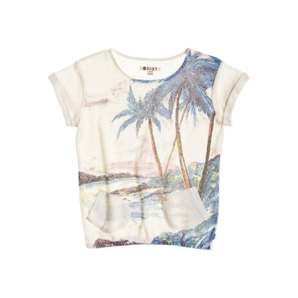 Roxy Gone Going Printed Sweatshirt Sea Spray New Womens