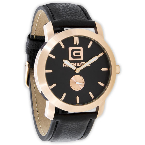 Rockwell Cartel Analog Watch Rose Gold Black Leather
