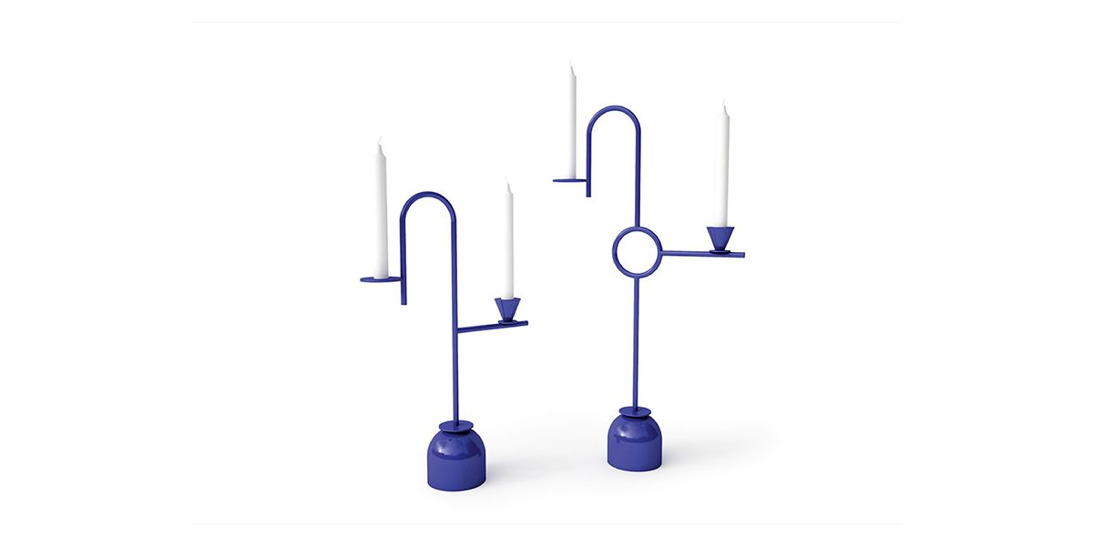 Blue Candleholder, straight