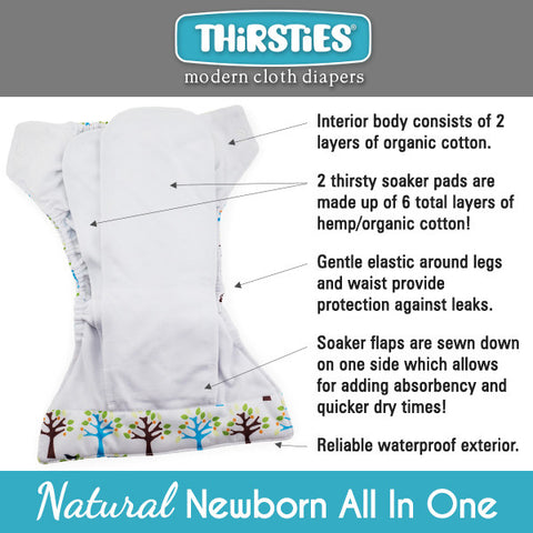 Thirsties Natural Newborn All in One AIO Cloth Diaper