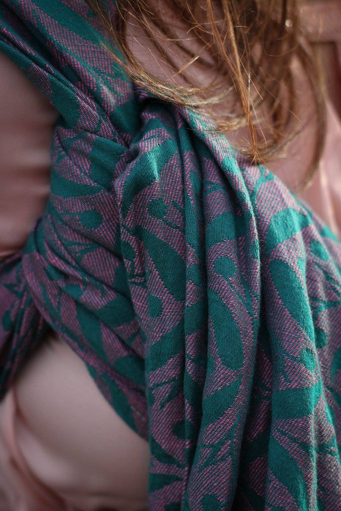 Yaro Retro Berry Dark Green Rose Wrap (linen blend)