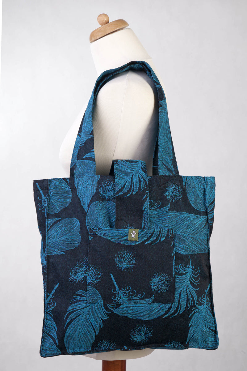 Lenny Lamb Feathers Black and Turquoise Shoulder Bag