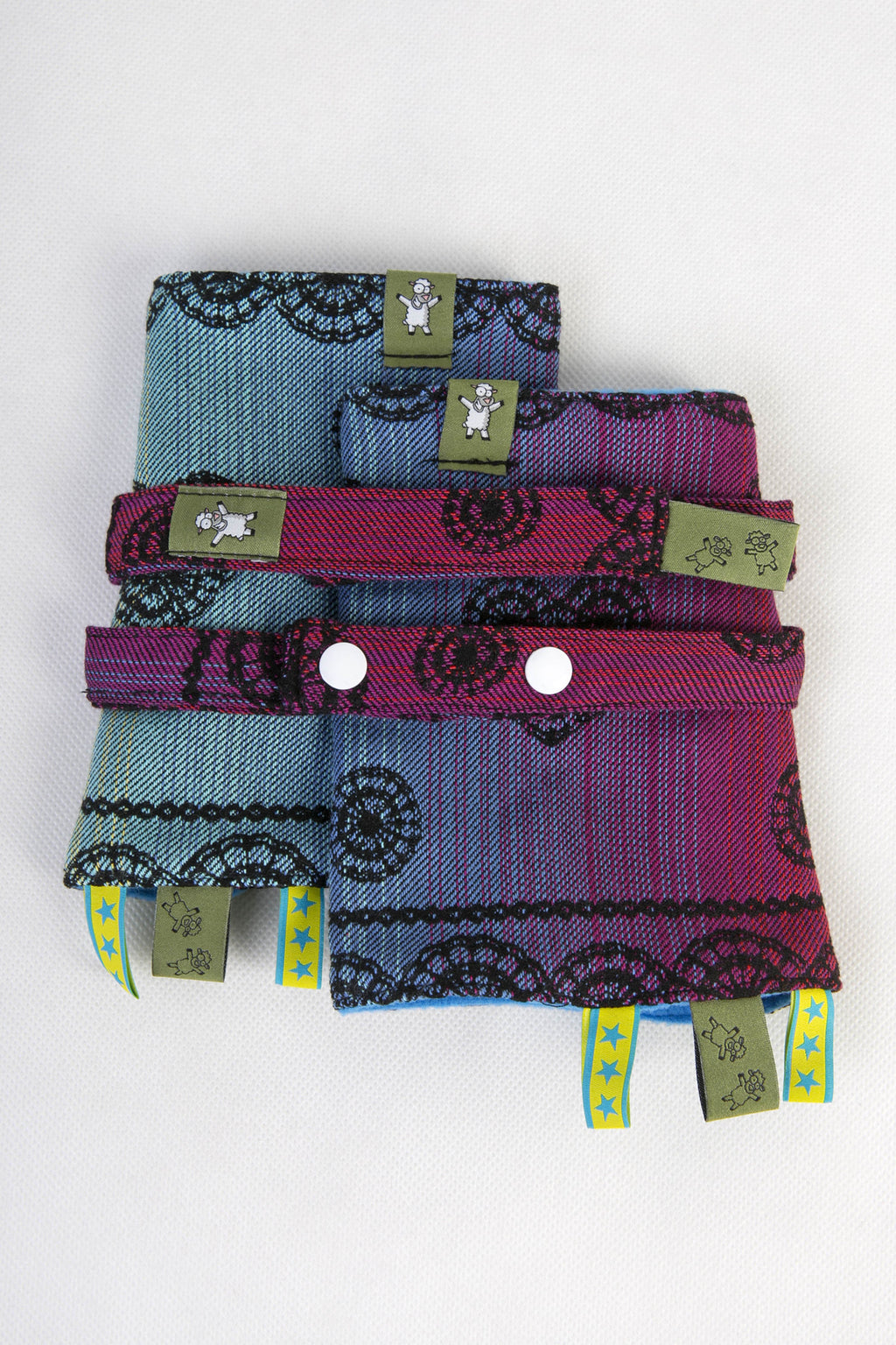 Lenny Lamb Drool Pads and Reach Straps Set Rainbow Lace Dark