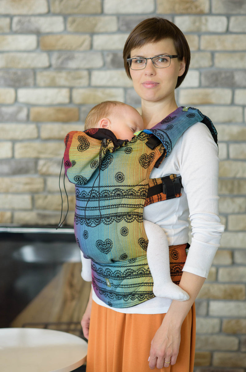 Lenny Lamb Rainbow Lace Dark Ergonomic Full Buckle Carrier (cotton)