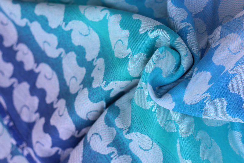 Yaro Elephants Aqua Grad Wrap (bamboo cotton)