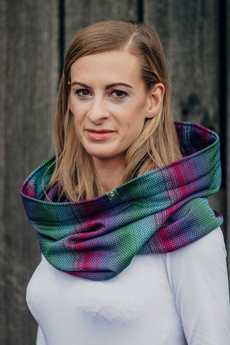 Lenny Lamb Little Herringbone Impression Dark Snood - Jersey Lining
