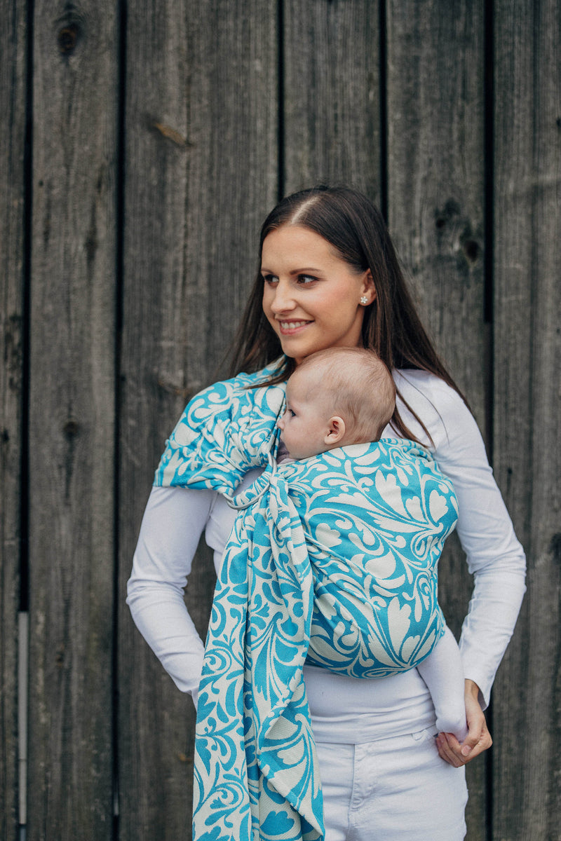 Lenny Lamb Twisted Leaves Cream and Turquoise (cotton) Ring Sling