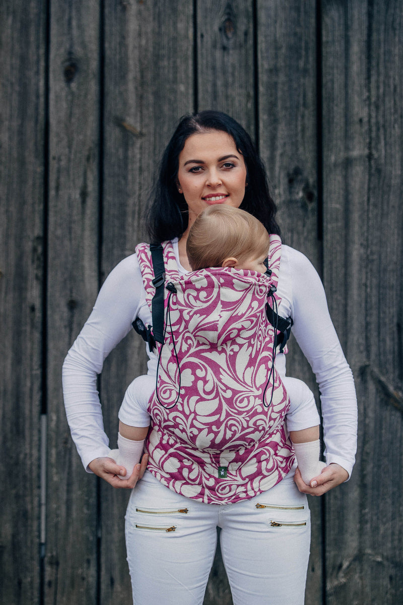 Lenny Lamb Twisted Leaves Cream and Purple Ergonomic Full Buckle Carrier (cotton)