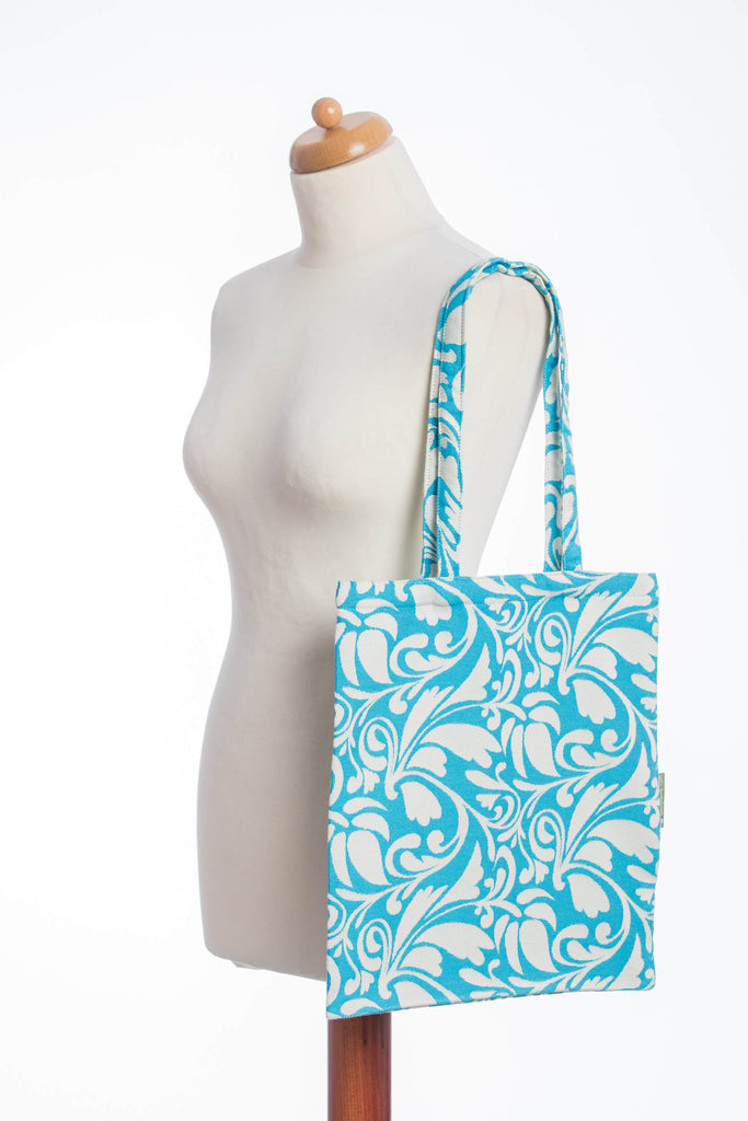 Lenny Lamb Twisted Leaves Cream and Turquoise Shopping bag