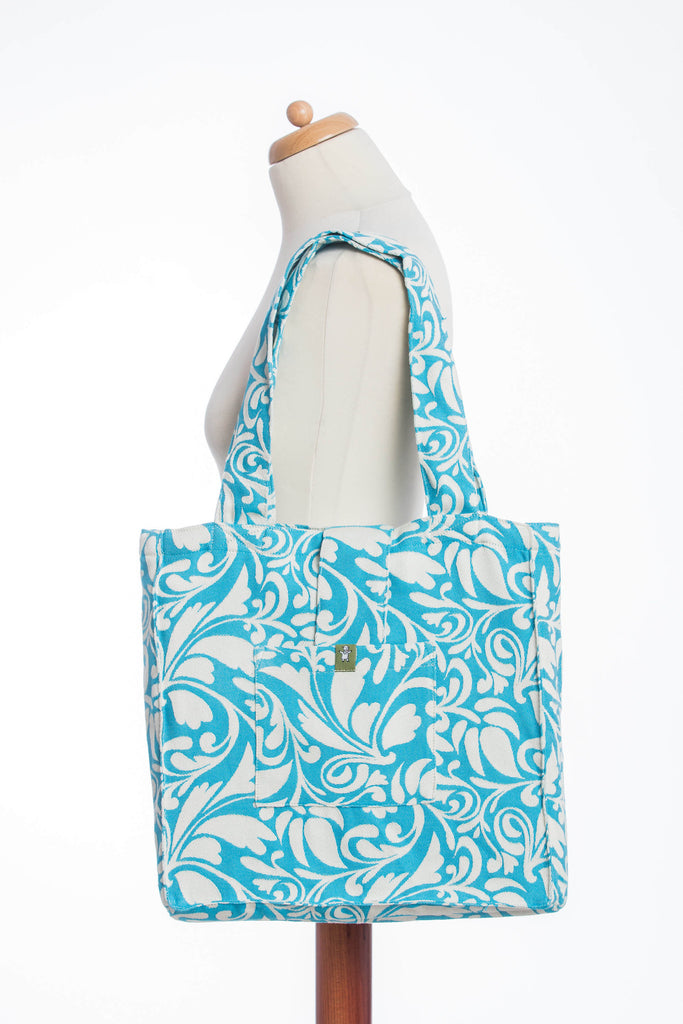 Lenny Lamb Twisted Leaves Cream and Turquoise Shoulder Bag