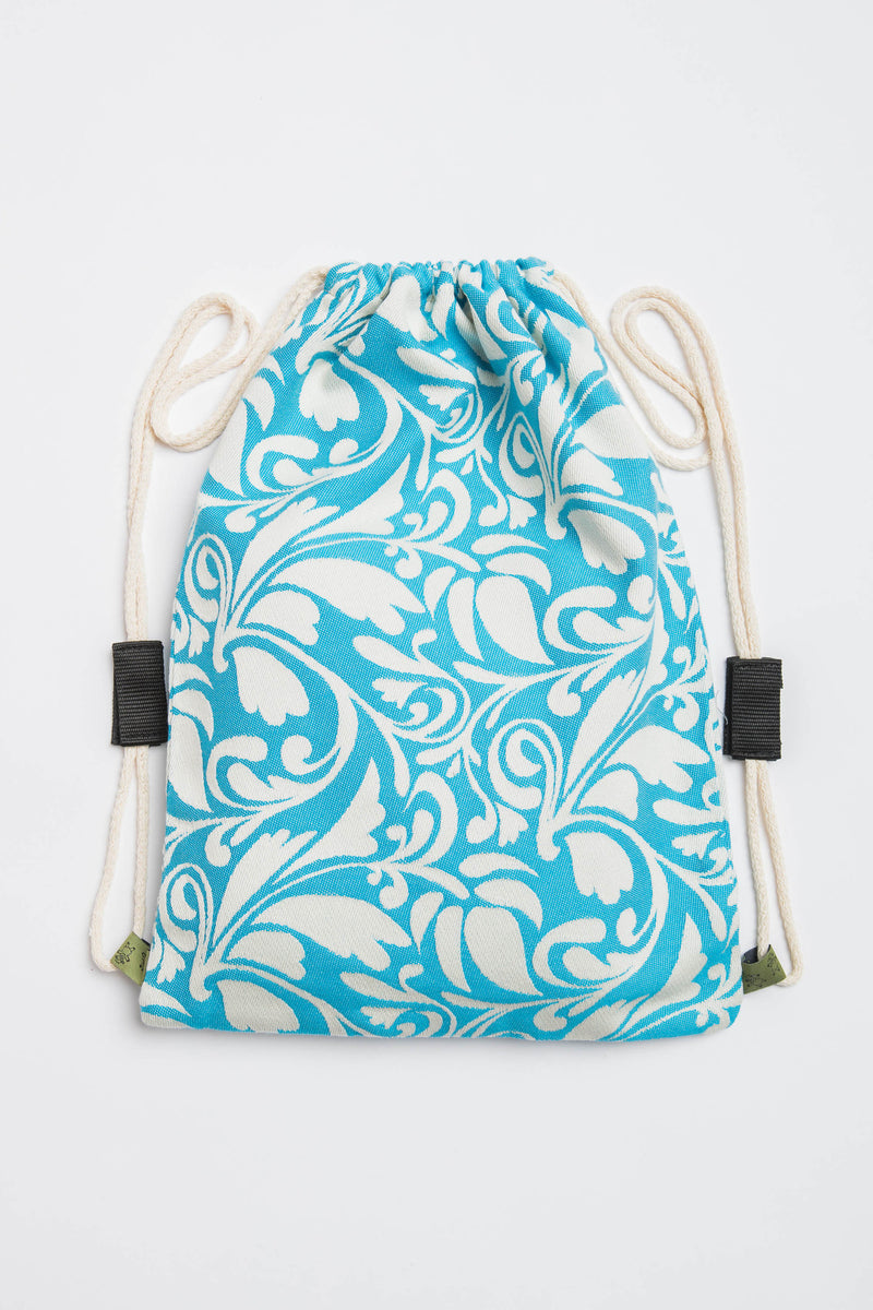 Lenny Lamb Twisted Leaves Cream and Turquoise Sackpack