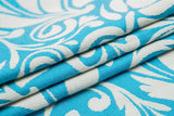 Lenny Lamb Twisted Leaves Cream and Turquoise Wrap (cotton)