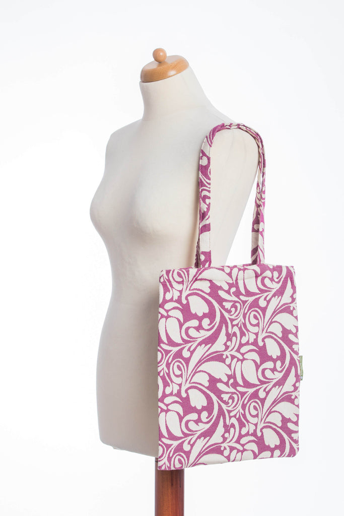 Lenny Lamb Twisted Leaves Cream and Purple Shopping bag