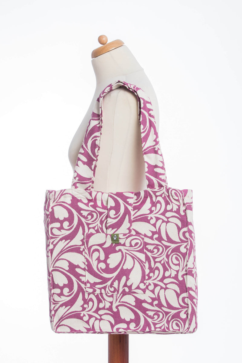 Lenny Lamb Twisted Leaves Cream and Purple Shoulder Bag