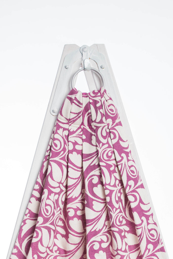 Lenny Lamb Twisted Leaves Cream and Purple (cotton) Ring Sling