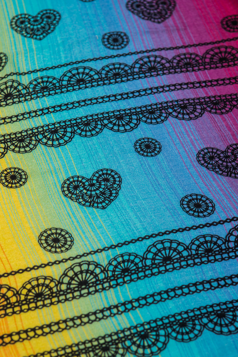 Lenny Lamb Rainbow Lace Dark Muslin Square