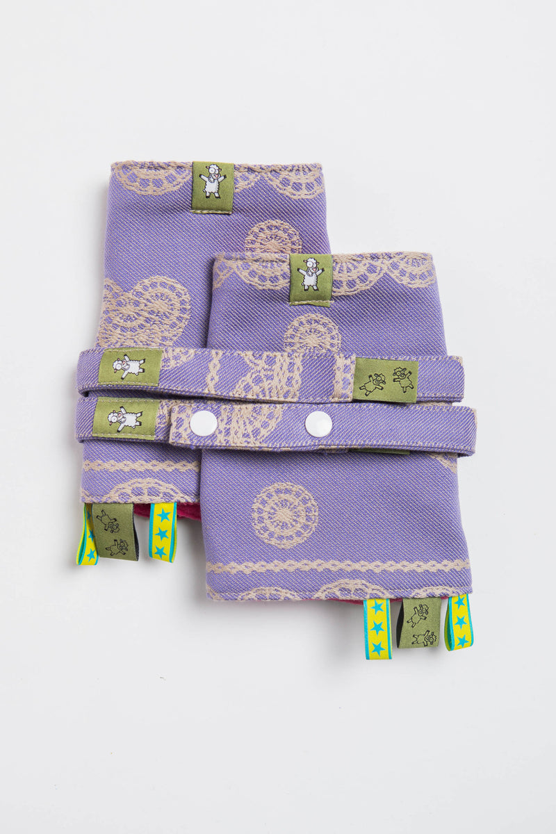 Lenny Lamb Plum Lace Drool Pads and Reach Straps Set