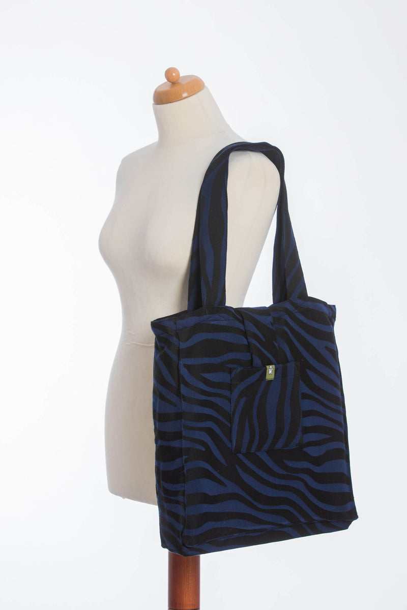 Lenny Lamb Zebra Black and Navy Shoulder Bag