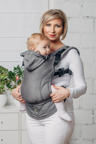 Lenny Lamb BASIC LINE Little Herringbone Graphite Ergonomic Full Buckle Carrier (cotton)