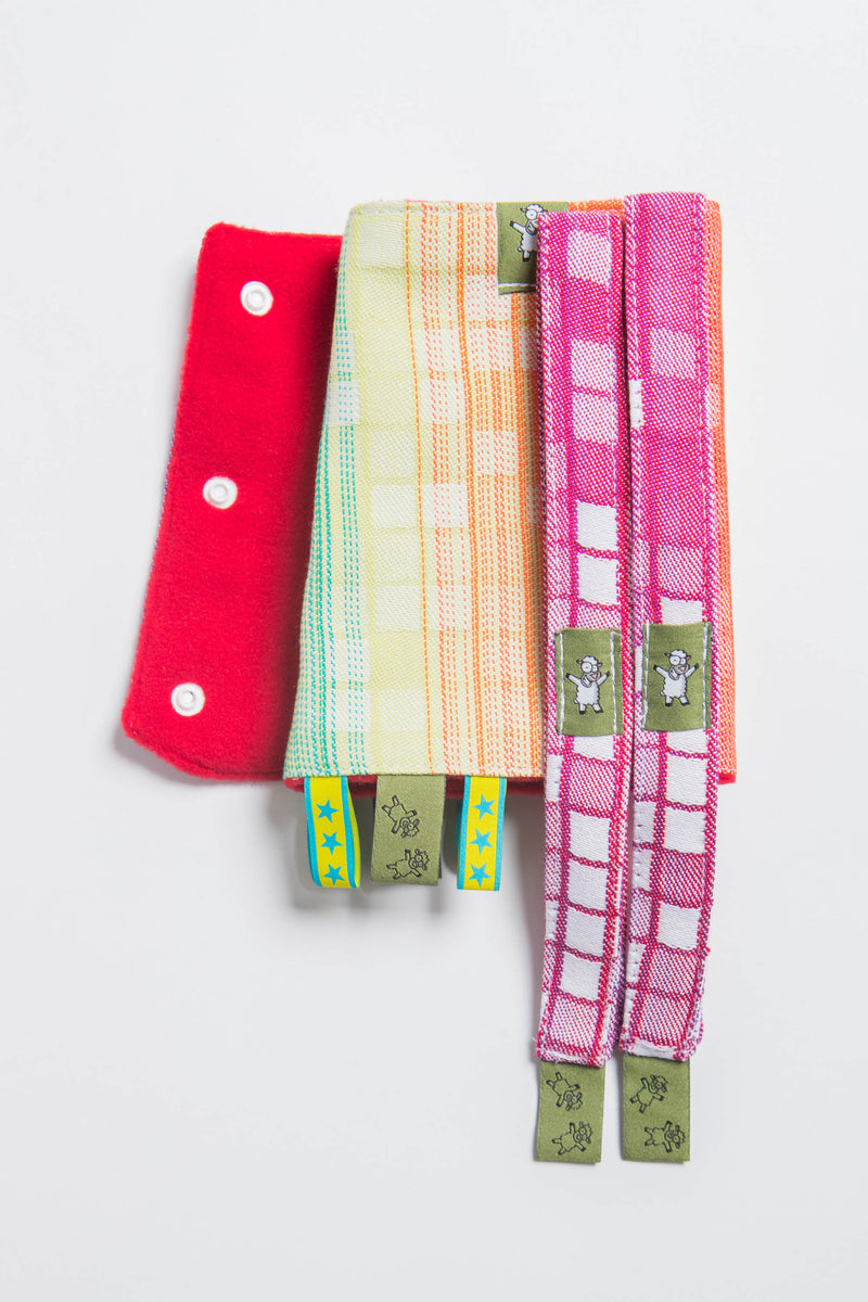 Lenny Lamb Mosaic Rainbow Drool Pads and Reach Straps Set