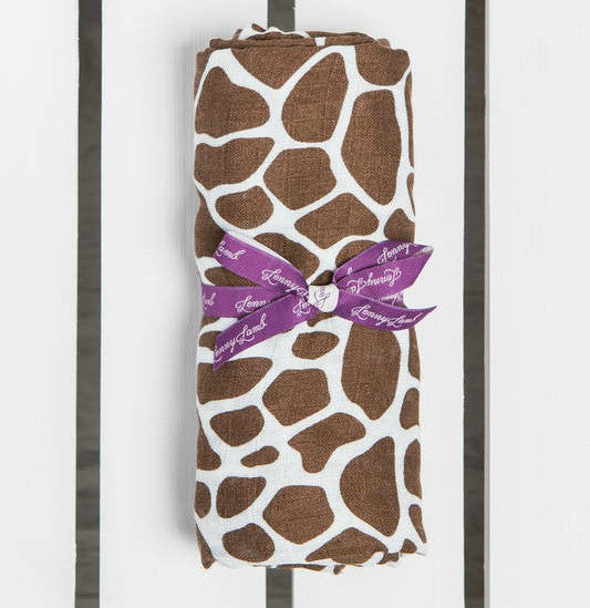 Lenny Lamb Giraffe Brown & Cream Swaddle Wrap