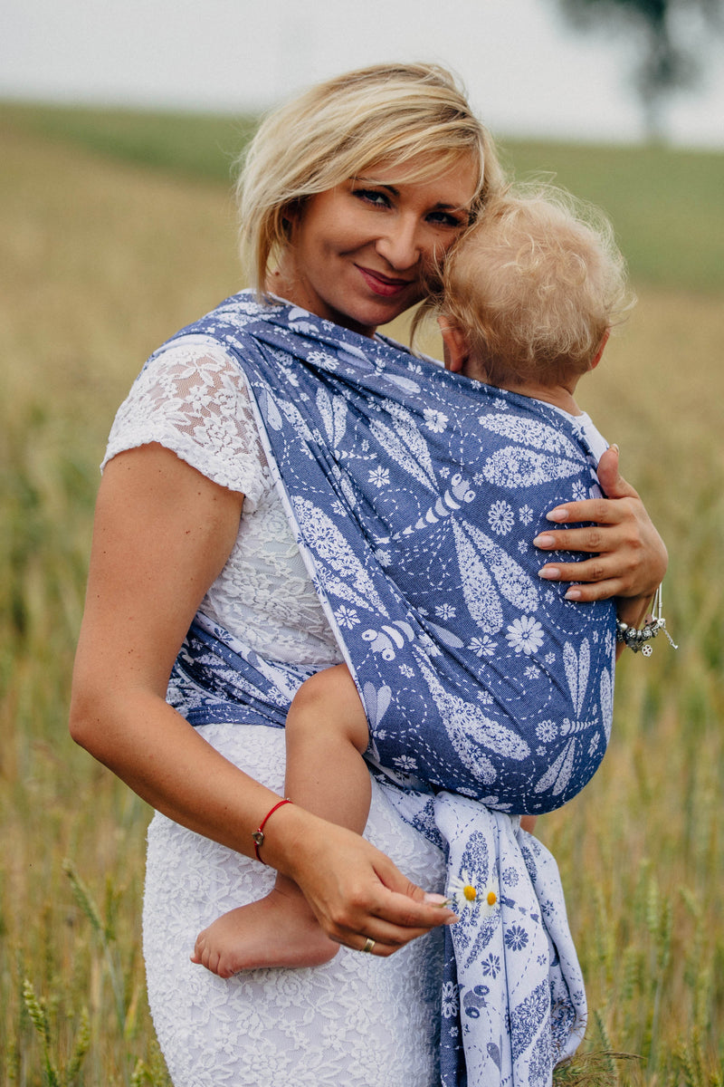Lenny Lamb Dragonfly White and Navy Baby Wrap (Bamboo blend)