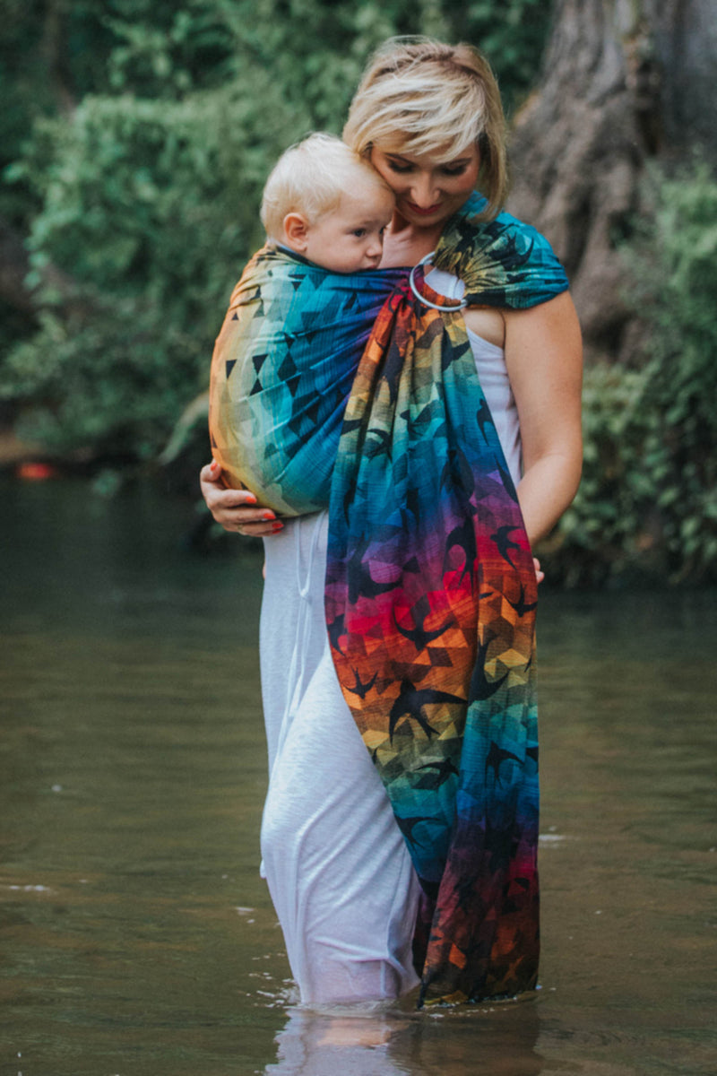 Lenny Lamb Swallows Rainbow Dark Ring Sling