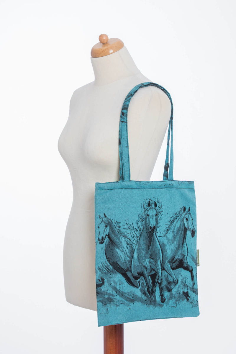 Lenny Lamb Gallop Black and Turquoise Shopping bag