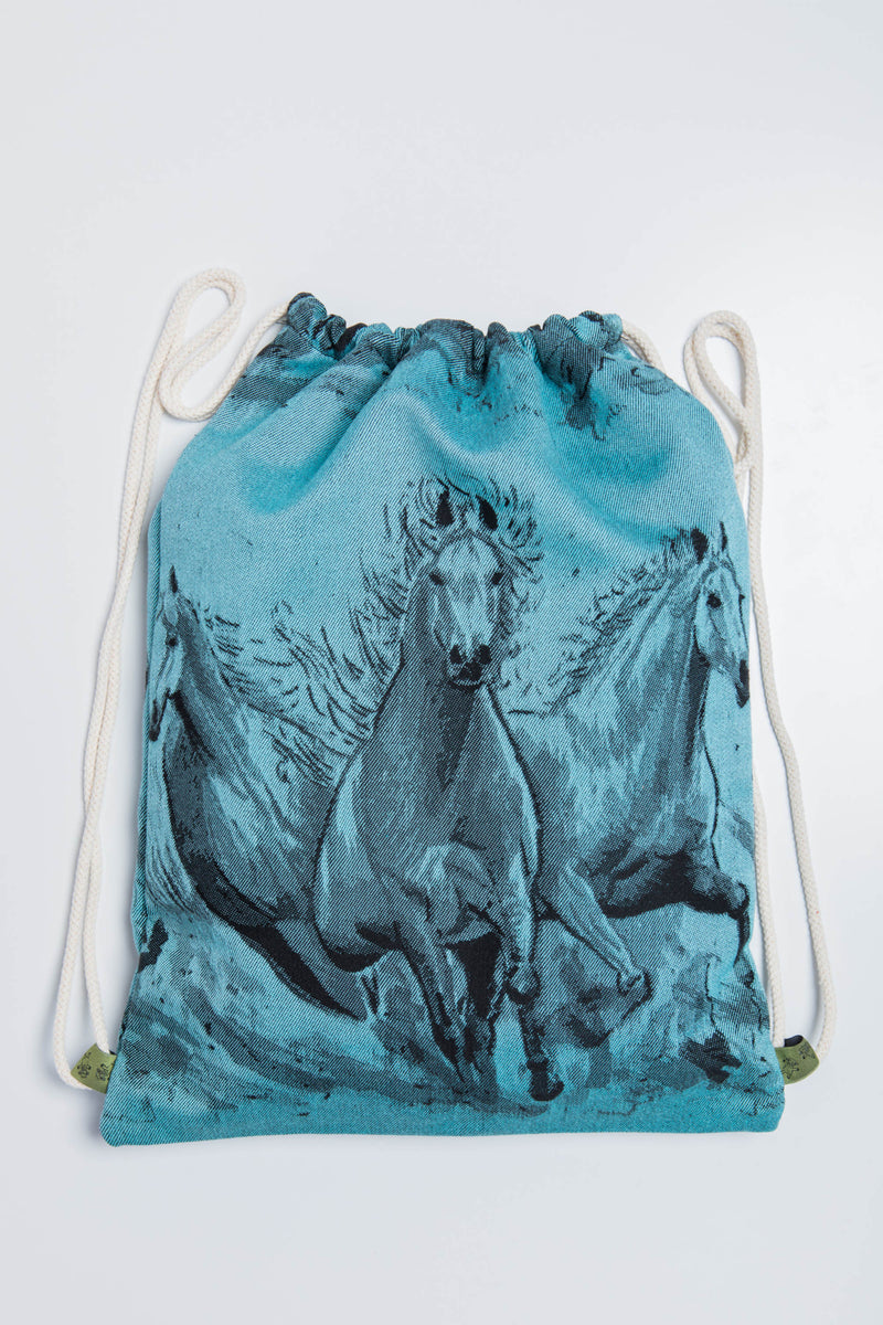 Lenny Lamb Gallop Black and Turquoise Sackpack