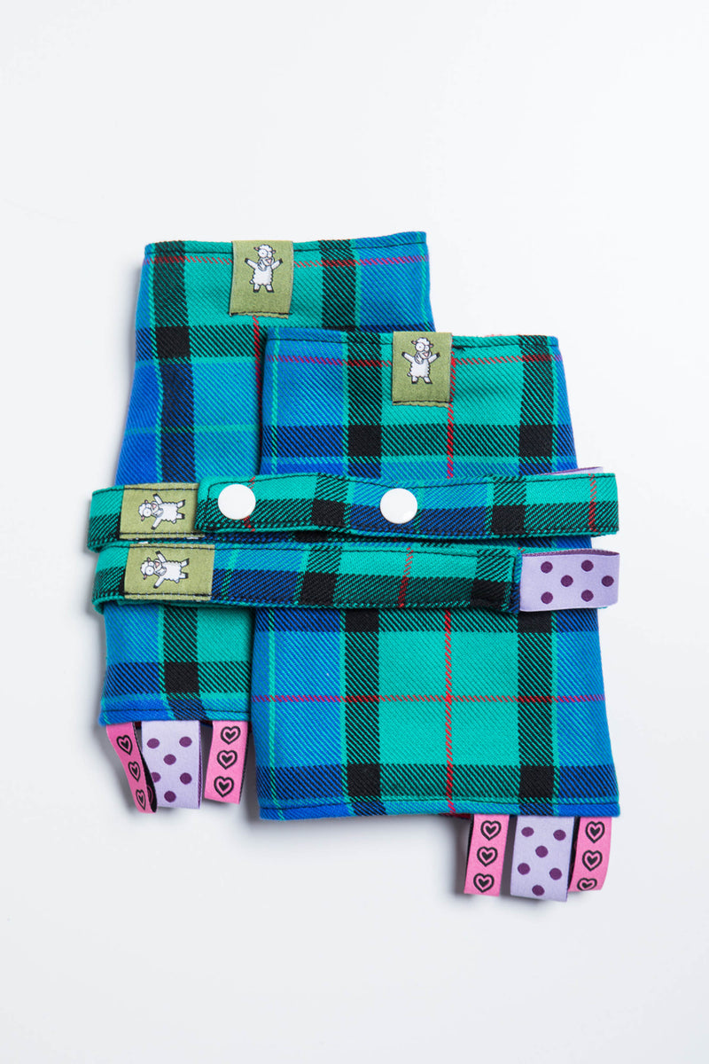 Lenny Lamb Countryside Plaid Drool Pads and Reach Straps Set