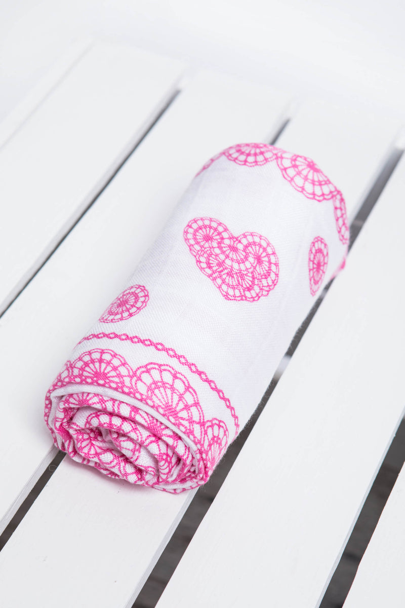 Lenny Lamb Iced Pink Lace Muslin Square
