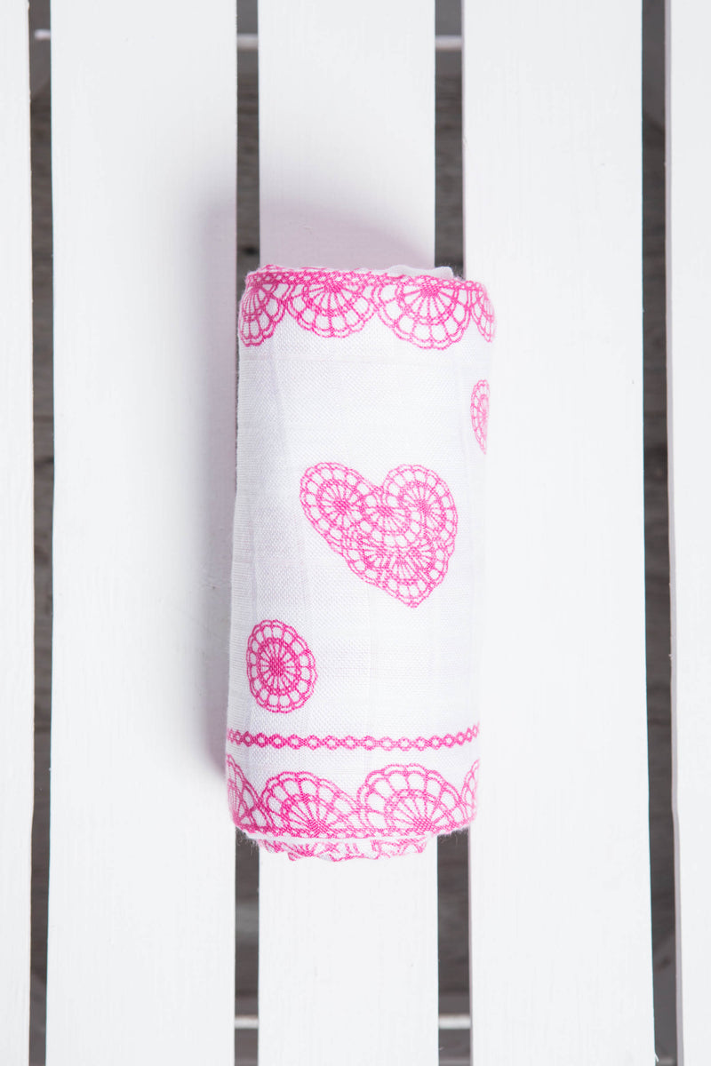 Lenny Lamb Iced Pink Lace Swaddle Wrap