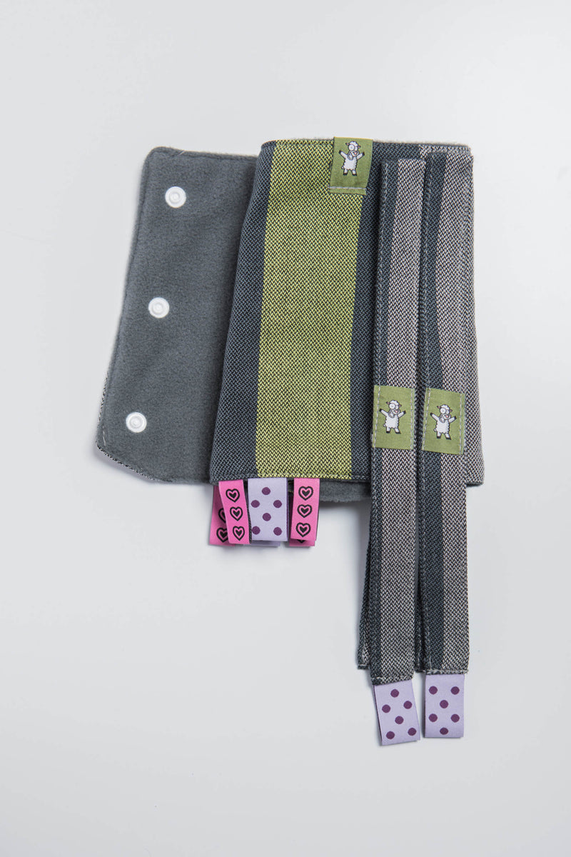 Lenny Lamb Smoky Lime Drool Pads and Reach Straps Set