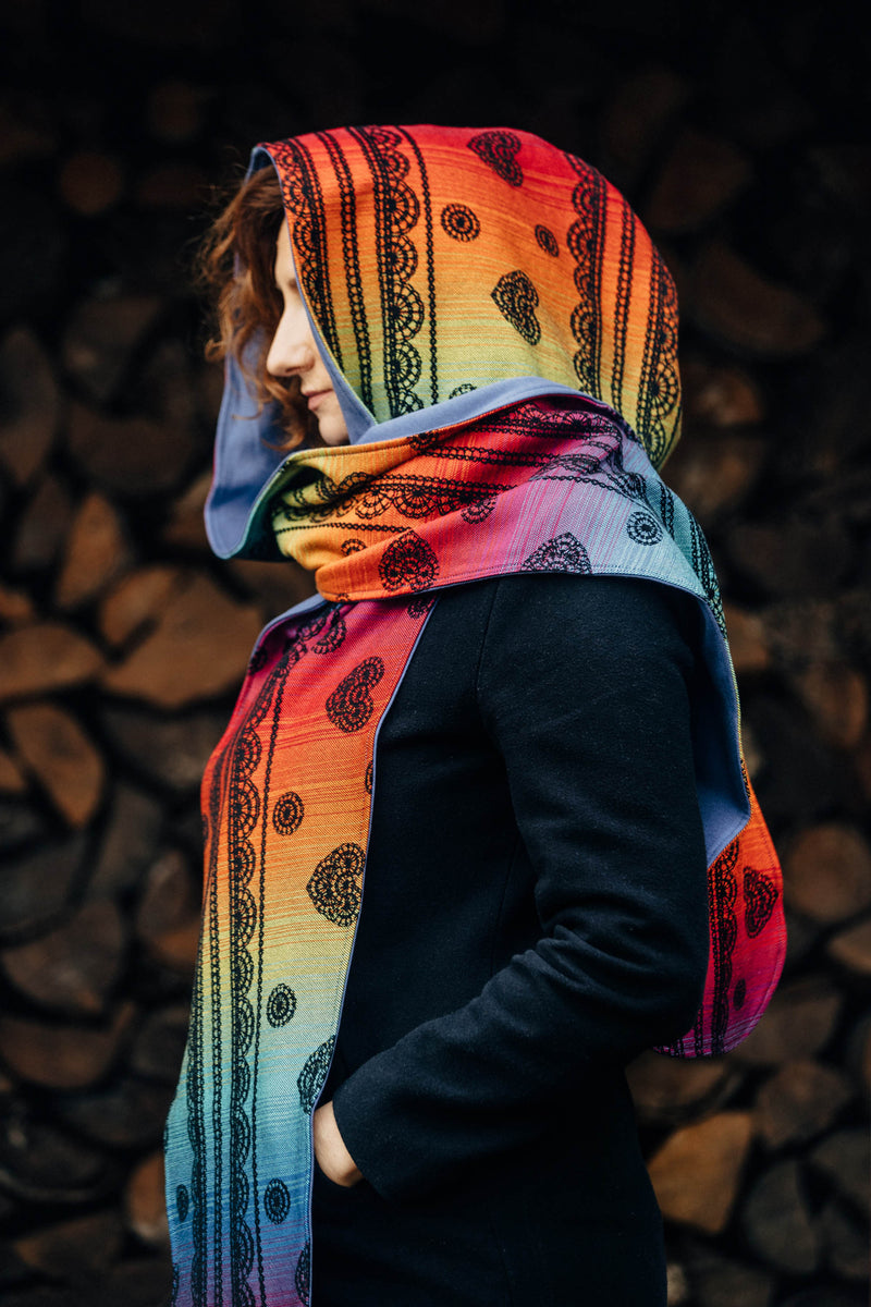 Lenny Lamb Rainbow Lace Dark LennyHood - Jersey Lining winter scarf warm wrap scrap creation