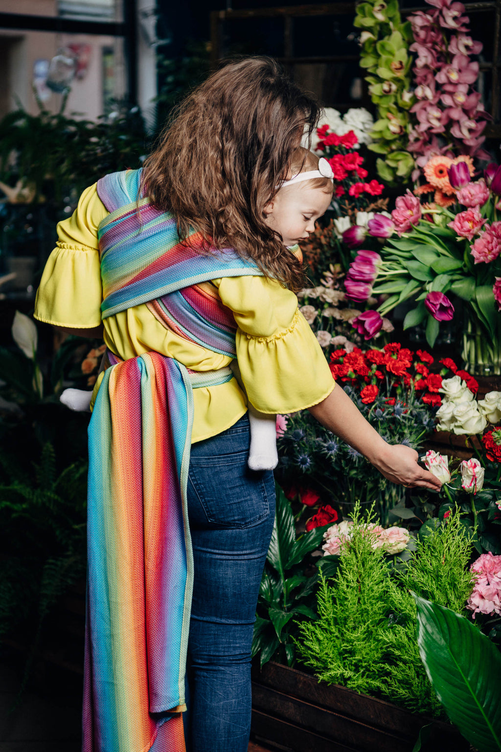 Lenny Lamb Little Herringbone Rainbow Light Babywearing Wrap