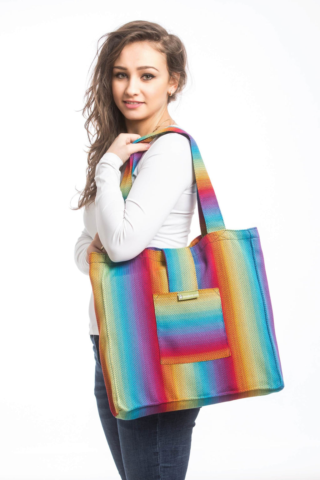Lenny Lamb Little Herringbone Rainbow Navy Shoulder Bag