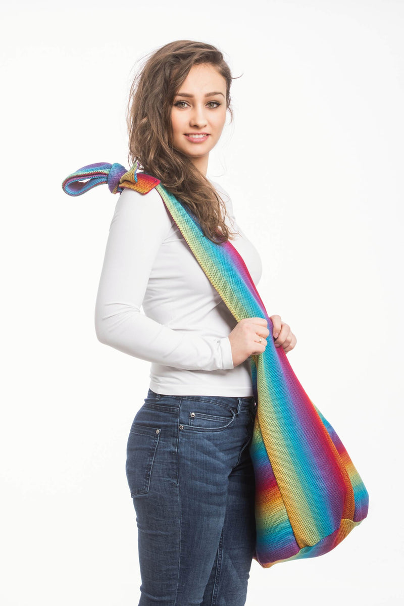 Lenny Lamb Little Herringbone Rainbow Navy Hobo Bag