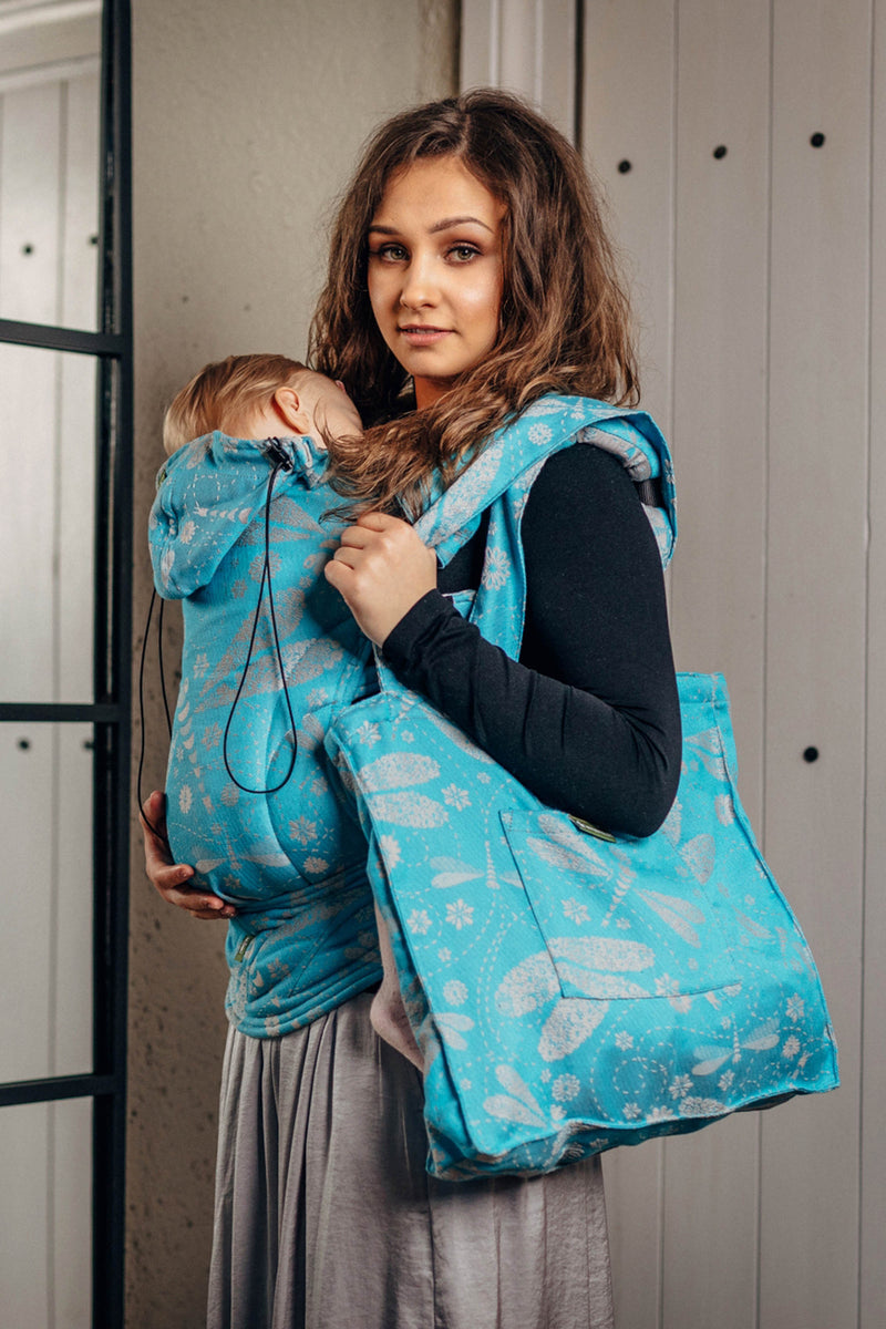 Lenny Lamb Dragonfly Grey and Turquoise Shoulder Bag