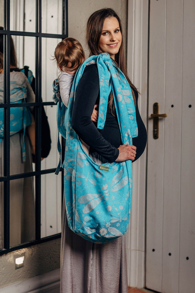 Lenny Lamb Dragonfly Grey and Turquoise Hobo Bag
