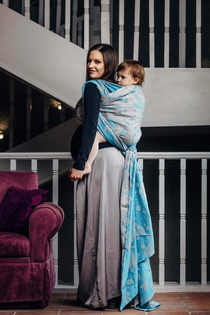 Lenny Lamb Dragonfly Grey and Turquoise Babywearing Wrap