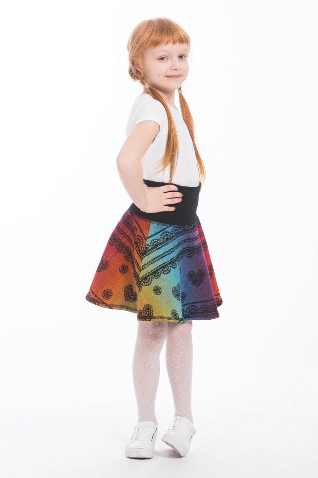 Lenny Lamb Childrens Skirt Rainbow Lace Dark