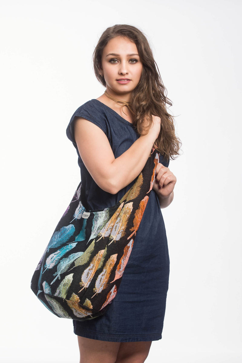 Lenny Lamb Painted Feathers Rainbow Dark Hobo Bag