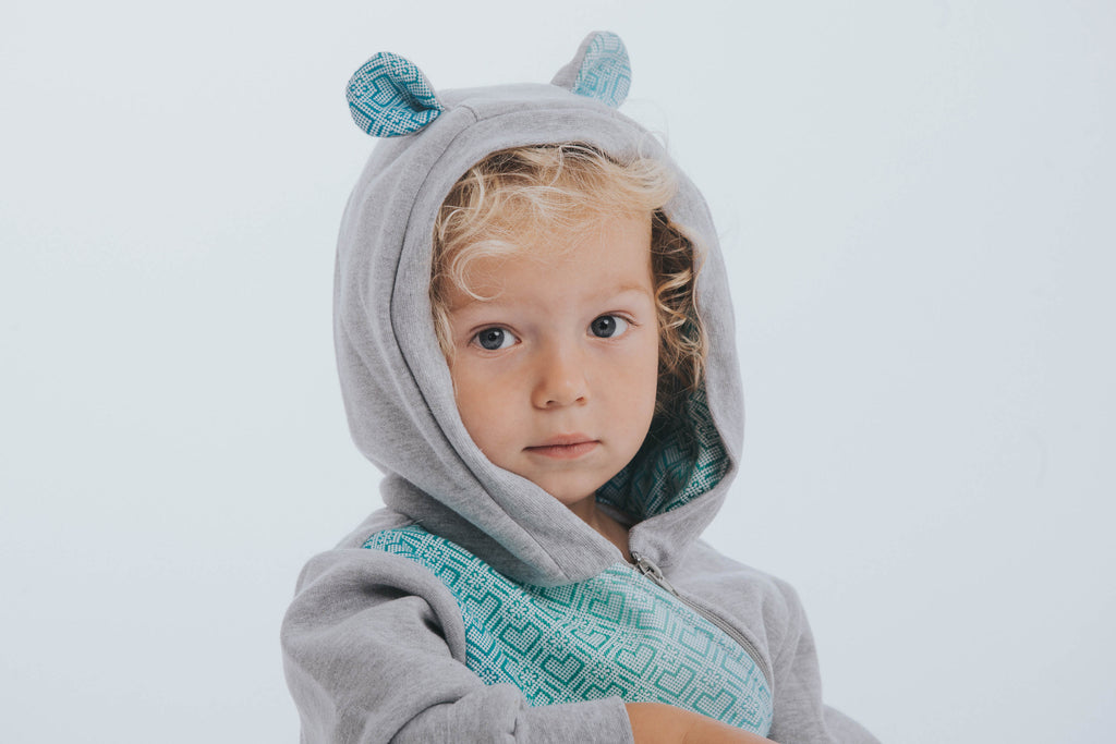 Lenny Lamb Big Love Mint Grey Jersey Bear Romper