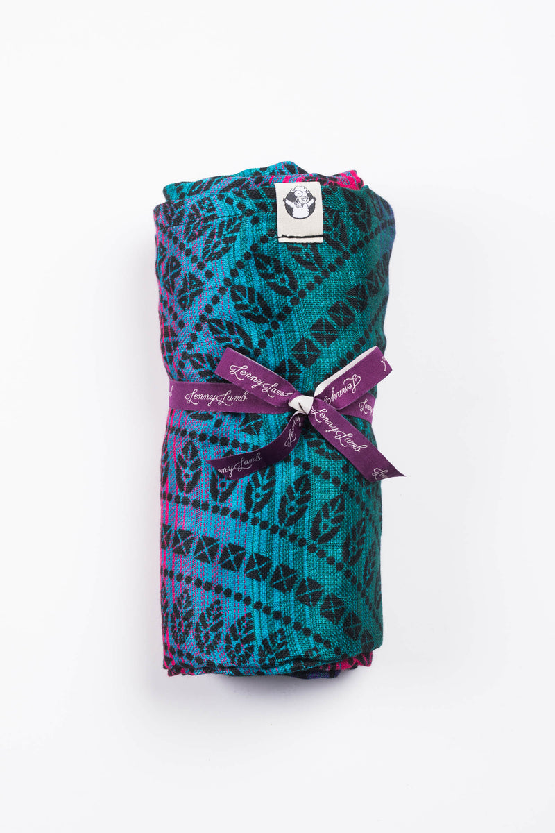 Lenny Lamb Peacock's Tail Black Opal Swaddle Wrap Blanket