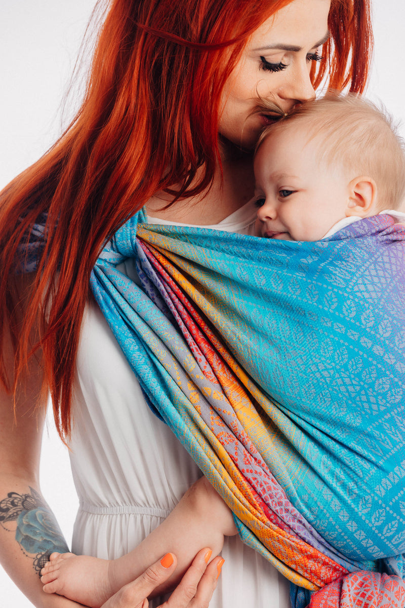 Lenny Lamb Peacock's Tail Sunset Woven Babywearing Wrap