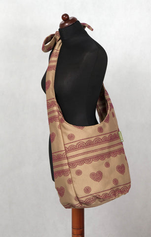 Lenny Lamb Lace Beige and Raspberry Hobo Bag