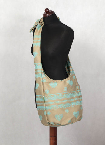 Lenny Lamb Lace Beige and Turquoise Hobo Bag