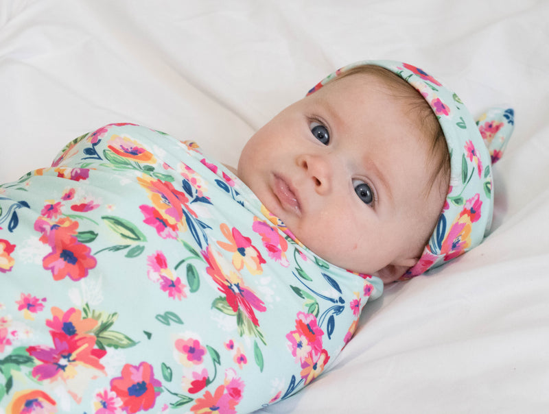 Bumblito Stretch Swaddle Set (includes matching hat) Aqua Floral