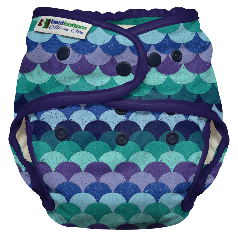 Best Bottoms Diaper - Heavy Wetter All-in-One Cloth Diaper (SNAP) Mermaid Tail
