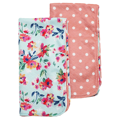Bumblito Burp Cloth Set of 2 Aqua Floral Pretty in Pink